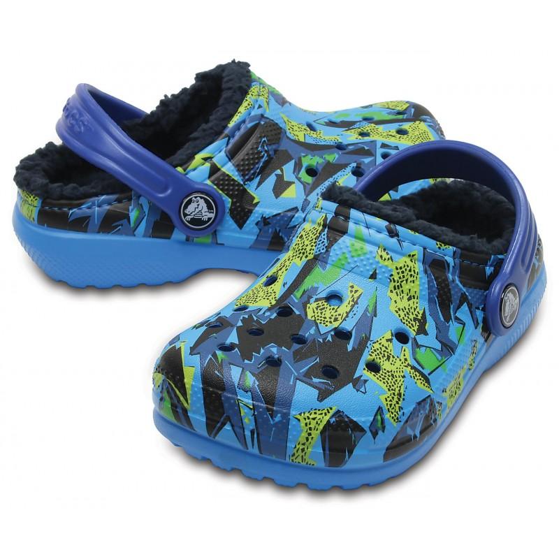 d33137d97ec Crocs Kids' Classic Fuzz Lined Graphic Clog